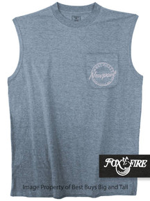 Blue Foxfire Coastal Print POCKET Muscle Tee