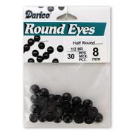 8mm Half Round Black Beads