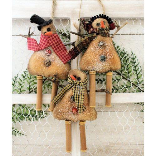 Primitive Snowman Ornaments