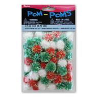 .5-Inch Iridescent Christmas Mix Pom Poms