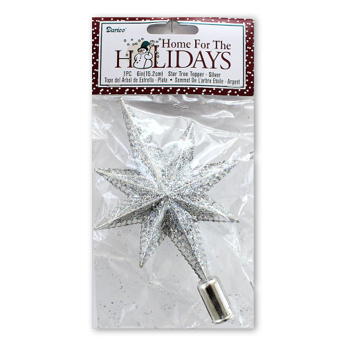 Silver Metallic Glitter Tree Topper Star