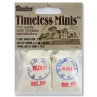 Dollhouse Miniature Printed Fabric Sugar Flour Sacks