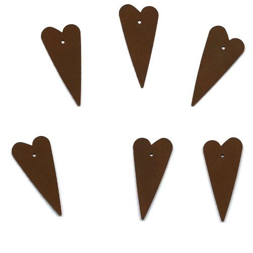 Rusty Tin Folk Heart Shapes with Holes