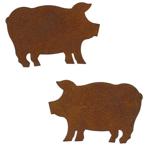 Rusty Tin Large Pig Shapes