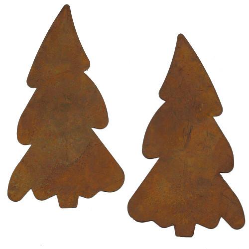 Rusty Tin Large Pine Tree Shapes
