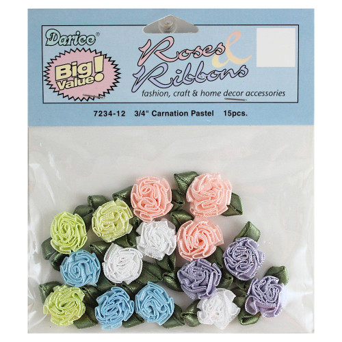 Miniature Satin Carnations Ribbon Roses Pastels