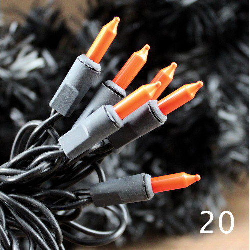Halloween String Lights Orange Bulbs Black Cord