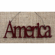 Tin Word Ornament America