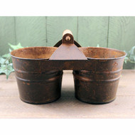Rusty Tin Double Planter