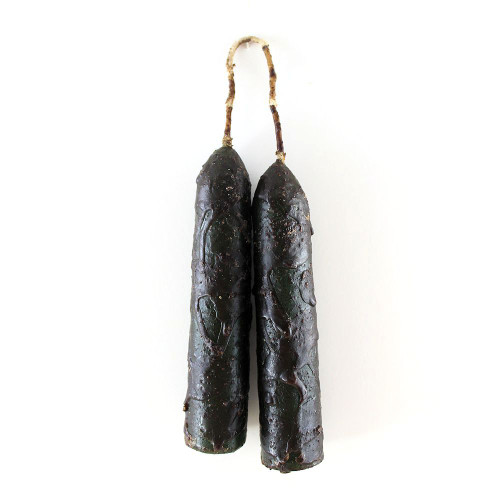 Grungy Wax-Dripped Colonial Green Hanging Candles