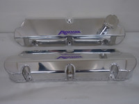 AF-6582-B Anderson Fabricated Aluminum Short Valve Covers With Fill Tube For 302 / 351W, 1986 - 1993, Clear Anodized
