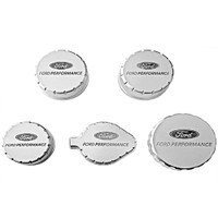 M-6766-M50 Ford Performance 2015-17 Mustang V-8 Billet Aluminum Engine Compartment Cap Cover Set W/ Laser Engraved Ford Performance