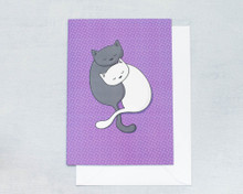 Black and White Cuddly Cats - Greetings Card