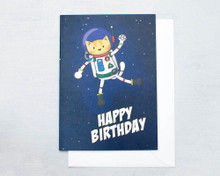 AstroCat Birthday Card - Greetings Card