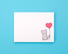 Cat and Balloon Sticky Notes