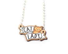 Cat Lady Necklace - Wooden