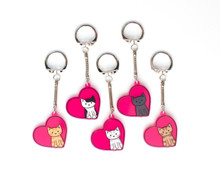 Heart Cat Key Ring