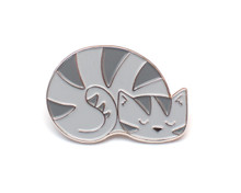 Grey Sleepy Cat Enamel Pin