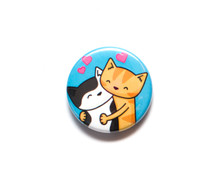 Cat Hugs - button badge
