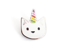 Unicorn Cat Enamel Pin with Glitter Horn