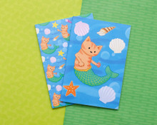 Set of Two Mermaid Cat  Notebooks - A6 Lined