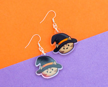 Witch Cat Earrings - Halloween