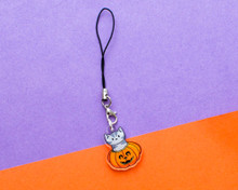 Pumpkin Cat Phone Charm - Halloween