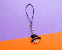 Witch Cat Phone Charm - Halloween