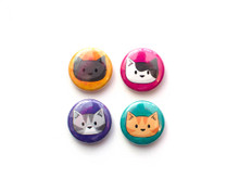 Cat Heads - Set of 4 Mini Magnets