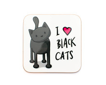 I Love Black Cats Coaster