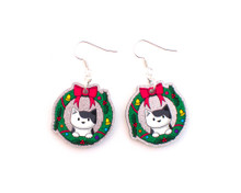 Christmas Cat Earrings - Wreath Cat