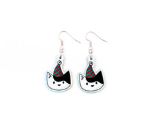 Christmas Cat Earrings - Black and White Cat