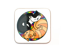 Colourful Circle Cats - Coaster