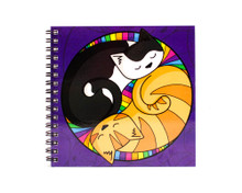 Colourful Circle Cats - Square Notebook - Lined paper