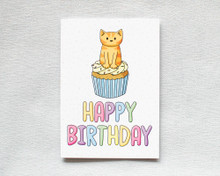 Happy Birthday - Greetings Card - Cupcake