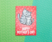 Happy Mother's Day - Greetings Card - Red Hearts
