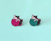 Cat and Yarn - Enamel Pin