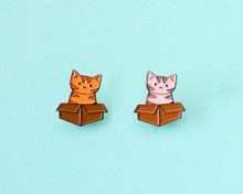 Cat and Box - Enamel Pin