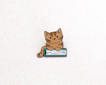 Cat on a Book - Enamel Pin