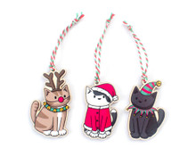 Wooden Christmas Decorations - Set of 3