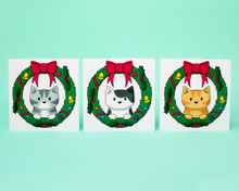 Wreath Cats - Christmas Cards - 6 Pack