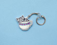 Teacup Cat - Key Ring