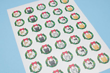 Christmas Wreath Stickers - Sheet of 35