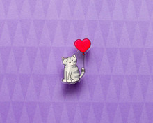 Cat with Love Heart Balloon - Acrylic Pin