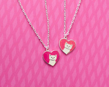 Love Heart Cat Enamel Necklace - Valentine's Day