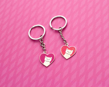 Love Heart Cat Enamel Key Ring - Valentine's Day Gift