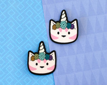 Unicorn Cat Patch Hair Clips - Pair