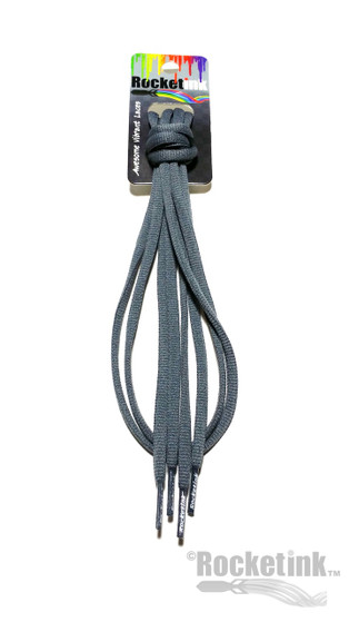 RocketInk Granite Gray oval shoelaces.
