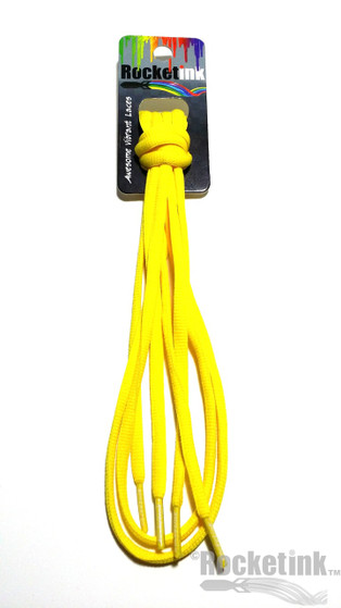 RocketInk Lemon Yellow athletic shoelaces.