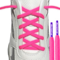 RocketInk Athletic oval laces in Neon Pink with Purple tips.